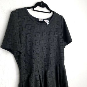 LuLaRoe Amelia Dress Black Solid Pockets Geo Print